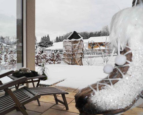 Ausblick Terrasse Ferienwohnung Prien am Chiemsee
